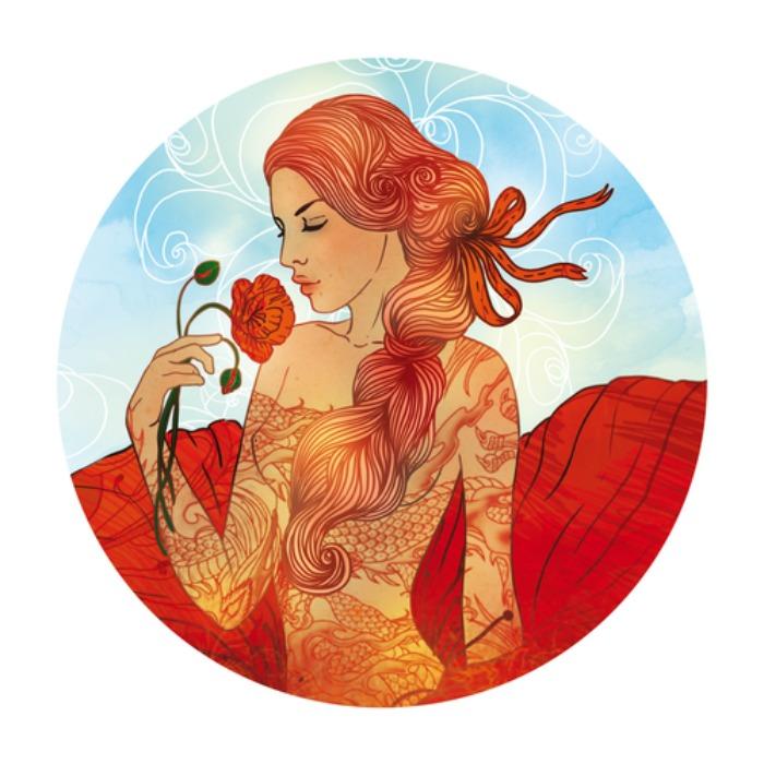Illustration of virgo zodiac sign as a beautiful girl